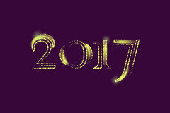 Golden New Year 2017 Greeting Card. Magic sparkle Vector gold glittering textured art. Illustration on purple back Stock Images