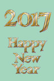 Golden New Year 2017 Greeting Card. Magic sparkle Vector gold glittering textured art. Illustration on turquoise back Royalty Free Stock Photo