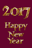 Golden New Year 2017 Greeting Card. Magic sparkle Vector gold glittering textured art. Illustration on wine red back Royalty Free Stock Photos