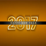 Golden 2017 New Year greeting card Royalty Free Stock Image