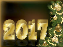 Golden 2017 new year greeting card. Vector illustration Royalty Free Stock Images