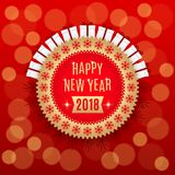 Golden New Year 2018. Holiday Round Banner of Happy New Year 2018 in Golden and Red Color. Vintage Greeting Badge with Gifts and Spruce Branches Stock Photos