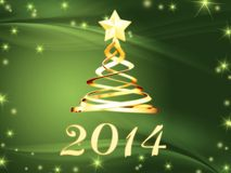 Golden new year 2014 and hristmas tree with stars. New year 2014 and golden christmas tree over green background with stars Stock Illustration