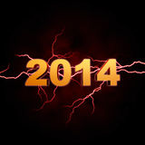 Golden new year 2014 with lightning Stock Photos