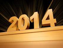 Golden new year 2014 on a pedestal. 3d golden new year 2014 with rays over base Stock Image