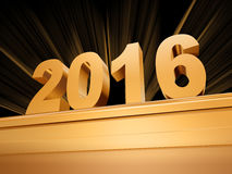 Golden new year 2016 on a pedestal Stock Image