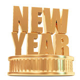Golden New Year on a podium. On white background Stock Photos