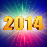 Golden new year 2014 with rainbow shining rays Royalty Free Stock Images