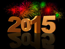 Golden new year 2015. With reflection and colorful fireworks royalty free illustration