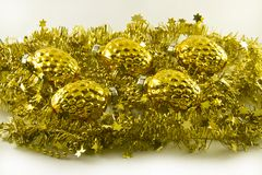 Golden New Year's tree decoration Royalty Free Stock Photography