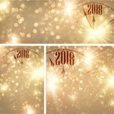 Gold 2018 New Year backgrounds with clock. Golden 2018 New Year shining backgrounds set with clock. Vector Christmas illustration.r Stock Photos