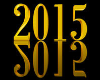 Golden New Year 2015. Shining golden 3D text New Year 2015 on black background with reflection. Please visit my personal collection of 3d text illustrations Royalty Free Illustration