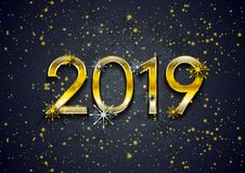 Golden 2019 New Year and shiny particles abstract background vector illustration