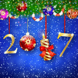 Golden New year 2017 sign Stock Photography