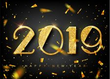 2019 golden New Year sign with golden glitter on black background. Vector New Year illustration. Happy New Year Banner vector illustration