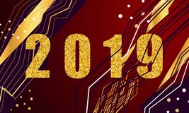 2019 golden New Year sign with golden glitter and loading panel on black background. Vector New Year illustration. 2019 golden New Year sign with golden glitter stock illustration