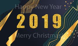 2019 golden New Year sign with golden glitter and loading panel on black background. Vector New Year illustration. 2019 golden New Year sign with golden glitter royalty free illustration