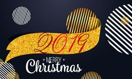 2019 golden New Year sign with golden glitter and loading panel on black background. Vector New Year illustration. 2019 golden New Year sign with golden glitter vector illustration