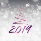 2019 golden New Year sign with golden glitter white silver shining background. Vector New Year illustration. 2019 golden New Year sign with golden glitter white stock illustration