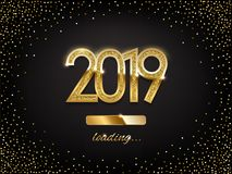 2019 golden New Year sign with loading panel on black background. Vector New Year illustration. 2019 golden New Year sign with loading panel on black background Stock Images