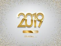 2019 golden New Year sign with loading panel on winter holiday background. Vector New Year illustration. 2019 golden New Year sign with loading panel on winter Royalty Free Stock Photo