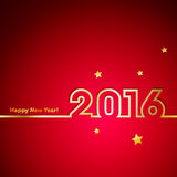 Golden 2016 New Year with stars on red background. Sample Royalty Free Stock Photos