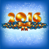 Golden New Year 2016 and Xmas decoration. An editable vector illustration of 2016 New Year numbers and Xmas decoration royalty free illustration