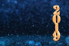 2019 golden new years 3d rendering at abstract sparkling dark bl. Ue glitter perspective background studio.luxury holiday backdrop.mock up banner for display of royalty free stock photo