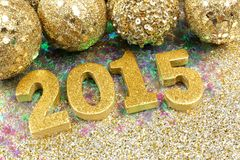 Golden 2015 New Years Eve decor Stock Photo