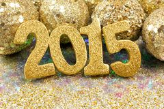 2015 golden New Years Eve decor Stock Image