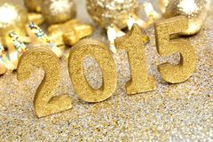 2015 golden New Years Eve decor Stock Photography