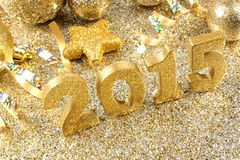 Golden 2015 New Years Eve decor Stock Photography