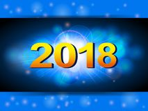 New years blue glowing background. Golden 2018 New Years Over Glowing Blue Panel Stock Image