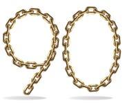 Golden nine and zero numbers Stock Photography