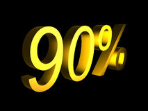 Golden ninety percent on black background 3d render. Sales financial concept Royalty Free Stock Photography