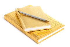 Golden notebook with pen Stock Photography