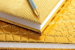 Golden notebooks Royalty Free Stock Image