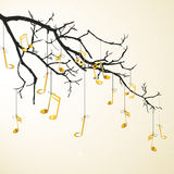 Golden notes hanging on a branch Royalty Free Stock Photos