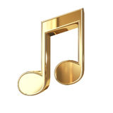 Golden music note - isolated on white. Golden notes symbol with clipping path isolated on white background Royalty Free Stock Photo