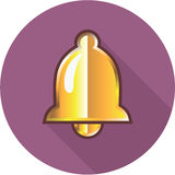 Golden Notification Bell Icon Stock Image