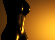 Golden nude woman. Golden nude body of a woman Stock Photography