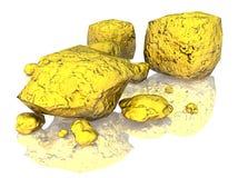 Golden Nuggets 3D. Group of 3D rendered Golden Nuggets on white background stock illustration