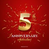 5 golden number and Anniversary Celebrating text with golden serpentine and confetti on red background. Vector fifth. Anniversary celebration event square royalty free illustration