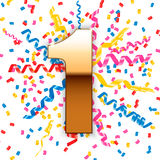 Golden number 1 with confetti and streamers Royalty Free Stock Photography