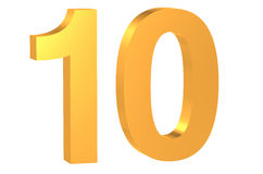 Golden number 10. 3D golden number 10 isolated on white background Royalty Free Stock Photo