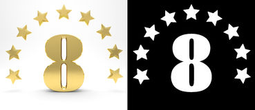 Golden number eight on white background with drop shadow and alpha channel , decorated with a circle of stars. 3D illustration Stock Photography