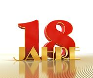 Golden number eighteen number 18 and the word. `years` against the backdrop of the prospect of gold lines. Translated from the German - years. 3D illustration Vector Illustration