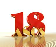 Golden number eighteen number 18 and the word. `years` against the backdrop of the prospect of gold lines. Translated from the Spanish - years. 3D illustration Stock Illustration