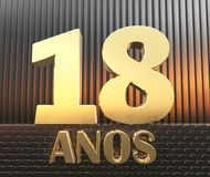 Golden number eighteen number 18 and the word. `years` against the background of metal rectangular parallelepipeds in the rays of sunset.  Translated from the Vector Illustration