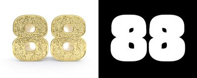 Golden number eighty eight number 88 on white background with drop shadow and alpha channel. 3D illustration.  Vector Illustration